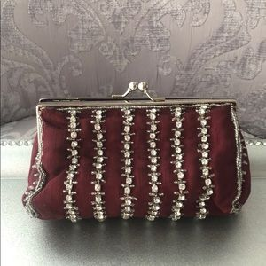 Handbags - Burgundy/Maroon rhinestone clutch